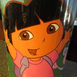 Vintage Dora the Explorer Small Metal Waste Can